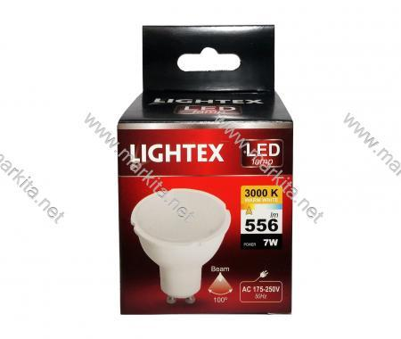Лампа Led Plastic 7w GU10 WW 3000K Lightex