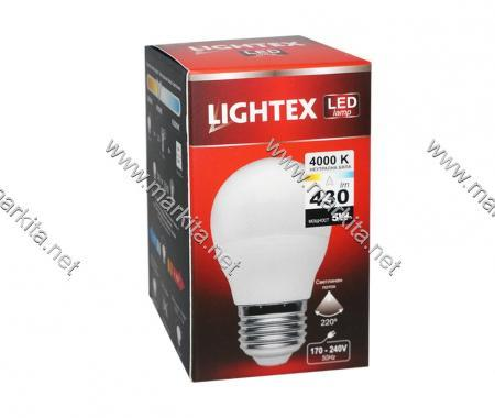 Лампа Led Plastic 5w NW 4000K E27 P45 Lightex 425